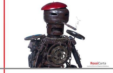 Scultura Robot Operaio in Metallo